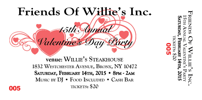 Friends of willies Valentines Day Party Ticket Numbered-1