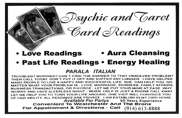 Psychic and Tarot Card Card